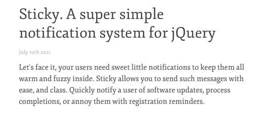 Plugin JQuery para implementar notificaciones: Sticky
