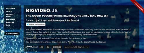 Plugin JQuery para video: Big Video.js