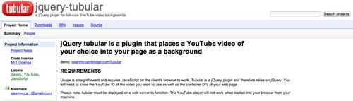 Plugin JQuery para video: Tubular