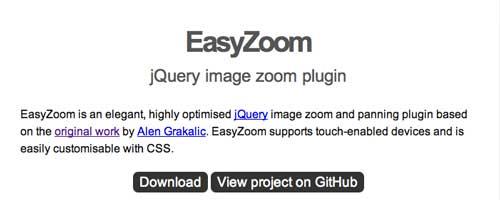 Plugin JQuery para añadir zoom: Easy Zoom