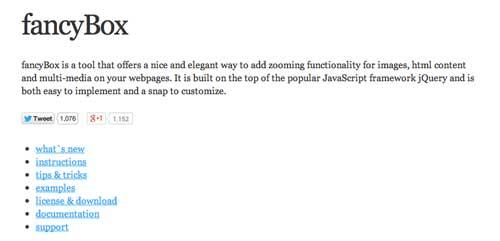 Plugin JQuery para añadir zoom: Fancybox