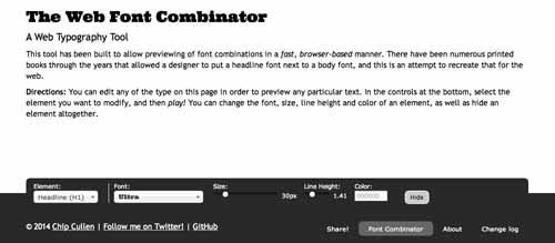 Recursos online para diseño tipográfico: Web Font Combinator