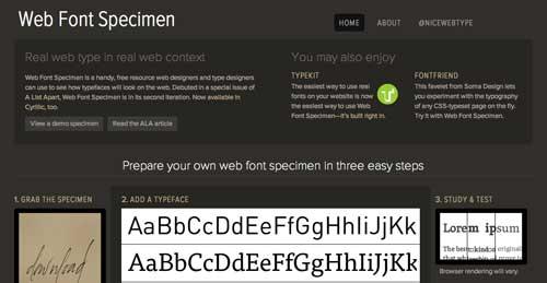 Recursos online para diseño tipográfico: Web Font Specimen