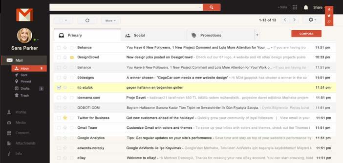 Ejemplos de rediseño de Gmail: Interface Redesign Concept