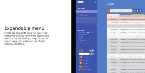 Ejemplos de rediseño de Gmail: Redesign Concept by Leah Erica Chung