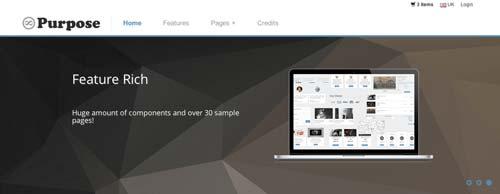 Template Bootstrap para sitios web variados: mPurpose