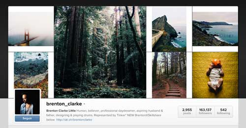 Cuenta Instagram de Brenton Clarke