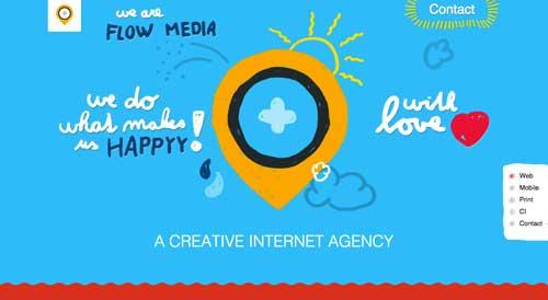 Uso de colores vibrantes en diseño de pagina web: Flow Media
