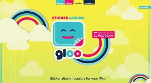Uso de colores vibrantes en diseño de pagina web: Gloo Sticker Albums