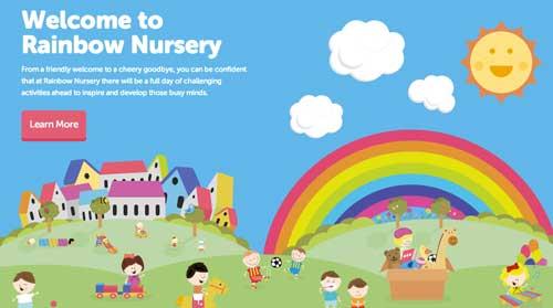 Uso de colores vibrantes en diseño de pagina web: Nursery Rainbow