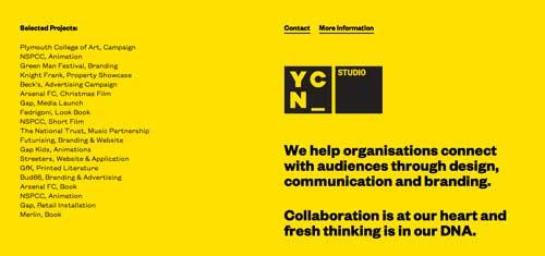 Uso de colores vibrantes en diseño de pagina web: YCN Studio