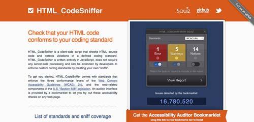 Editor HTML para previsualizar y compartir código: HTML CodeSniffer