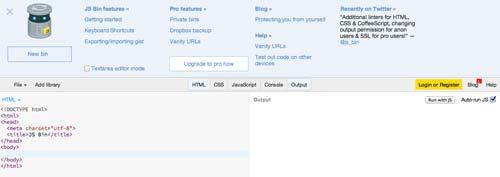 Editor HTML para previsualizar y compartir código: JSBin