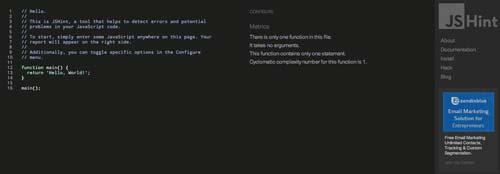Editor HTML para previsualizar y compartir código: JSHint
