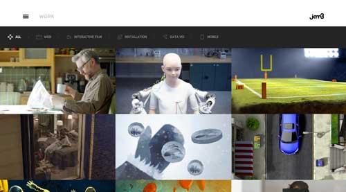 Ejemplos de paginas web con buen uso del hamburger menu: Jam3