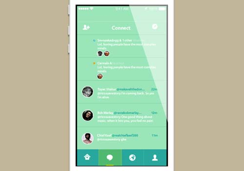 Ejemplos de rediseño de Twitter: iOS 7 Twitter Concept