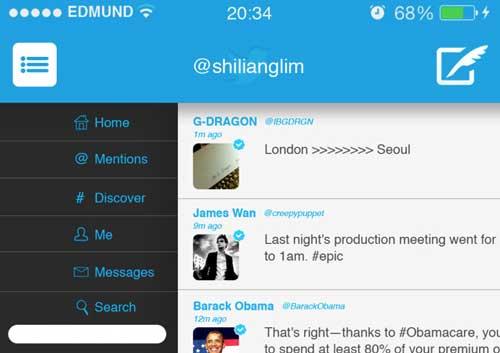 Ejemplos de rediseño de Twitter: iOS 7 Twitter Redesign