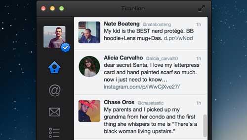 Ejemplos de rediseño de Twitter: Twitter for Mac Redesign