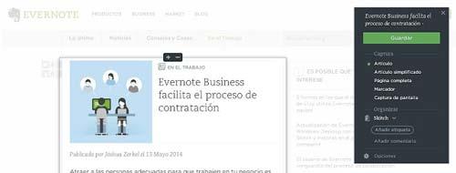Extensiones Google Chrome para gestión de redes sociales: Evernote Web Clipper