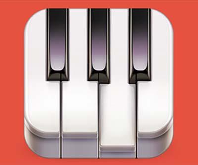 Ejemplos de iconos realistas de iOS app: Go! Piano