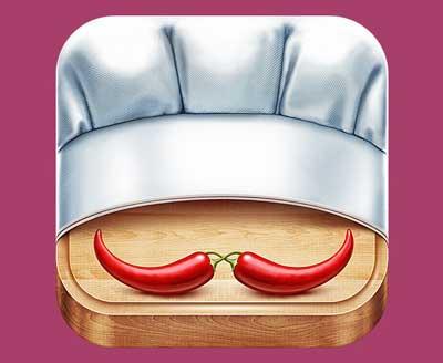 Ejemplos de iconos realistas de iOS app: New Fork