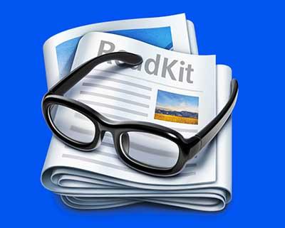 Ejemplos de iconos realistas de iOS app: ReadKit