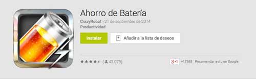 Programas para Android para alargar duración de batería: Battery Save Booster