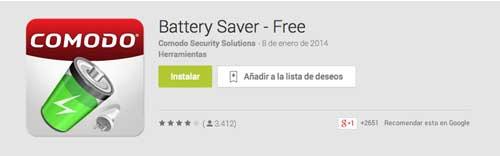 Programas para Android para alargar duración de batería: Comodo Battery Saver