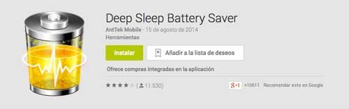 Programas para Android para alargar duración de batería: Deep Sleep Battery Saver