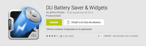 Programas para Android para alargar duración de batería: DU Battery Saver