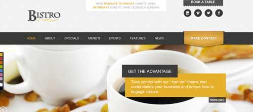 Temas WordPress para cafeterías: Bistro