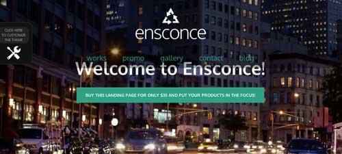 Temas WordPress para páginas de destino: Ensconce