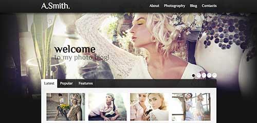 Temas WordPress con buen uso del JQuery Slider: Photographer Portfolio WordPress Theme #34547