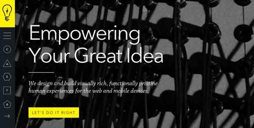 Ejemplos de paginas web minimalistas con colores oscuros: Electrik Company