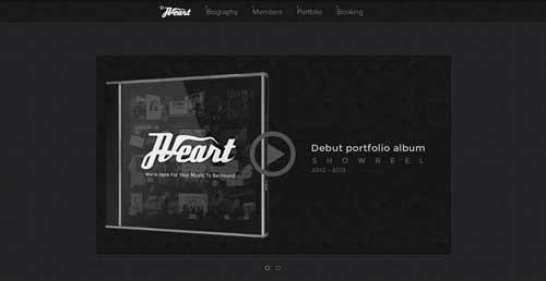 Ejemplos de paginas web minimalistas con colores oscuros: Heart