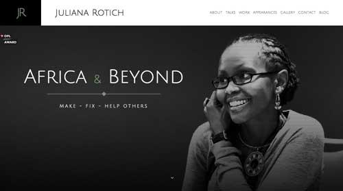 Ejemplos de paginas web minimalistas con colores oscuros: Juliana Rotich