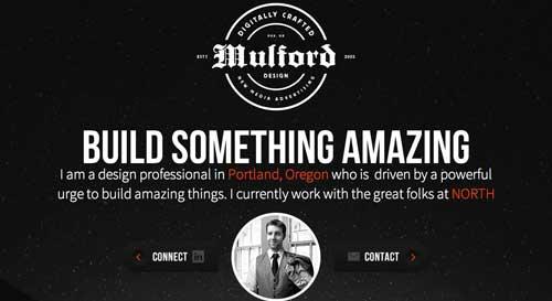 Ejemplos de paginas web minimalistas con colores oscuros: Ryan Mulford