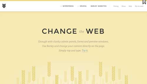 Ejemplos de paginas web que usan espacios en blanco: Barley
