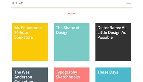 Ejemplos de paginas web que usan espacios en blanco: Bookshelf