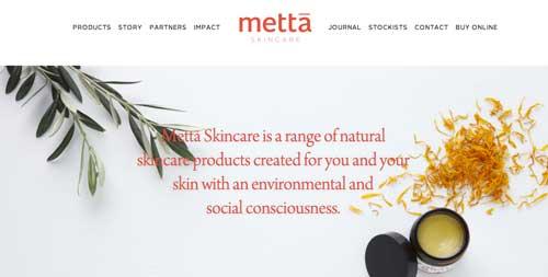 Ejemplos de paginas web que usan espacios en blanco: Meta Skincare