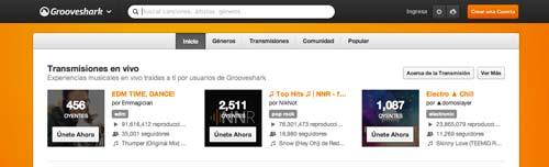 Ejemplos de páginas web con search bar: Grooveshark