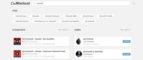 Ejemplos de páginas web con search bar: Mixcloud