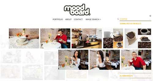 Ejemplos de páginas web con search bar: Moodboard