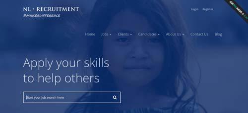 Ejemplos de páginas web con search bar: NL Recruitment