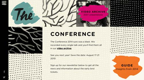 Ejemplos de pagina web con uso de patrones de diseño: The Conference