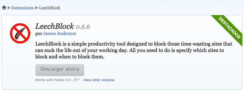 Herramientas para mejorar la concentracion: LeechBlock