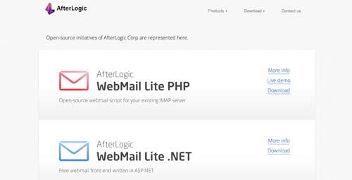 Lista de webmail cliente: AfterLogic
