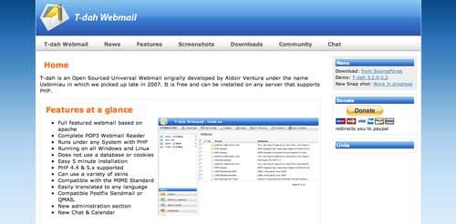 Lista de webmail cliente: T-dah