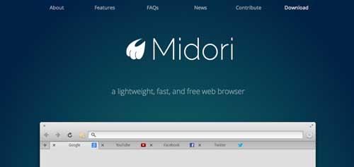 Navegadores web opcionales a Explorer: Midori