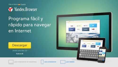 Navegadores web opcionales a Explorer: Yandex.Browser